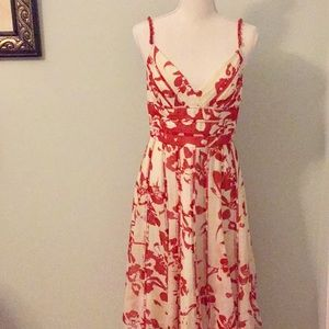 Carmen Marc Valvo Silk Red & Ivory Sundress